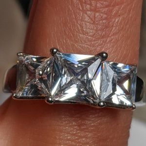 Large Sparkling CZ Stainless Steel Engagement Ring